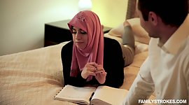 Arab lady in hijab Ella Knox serves..