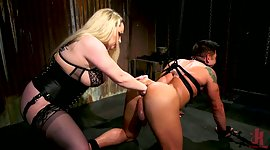 Meaty mistress Aiden Starr puts on a..