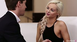 Petite blondie Elsa Jean swallows a..