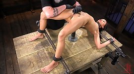 Tied up and restrained ebony chick..