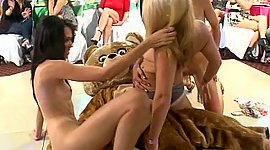 3 damsels beating dancing bear