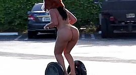 Fat bird riding Segway absolutely in..