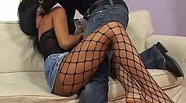 Hottie in fishnet nylons gains hammered