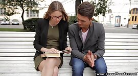 Student hits on shy nerdy angel in the..