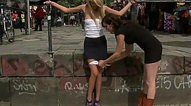 Little Euro girlie punished in public