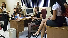 Office cuties getting dirty with male..