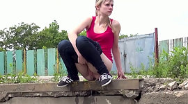 Shy athletic haired girlie pisses..